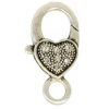 Lobster Clasp 27mm Fancy Heart With Rhinestone Antique silver